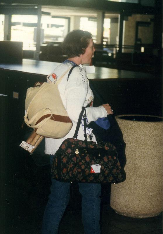 April 1999. Honolulu, Jane at the airport