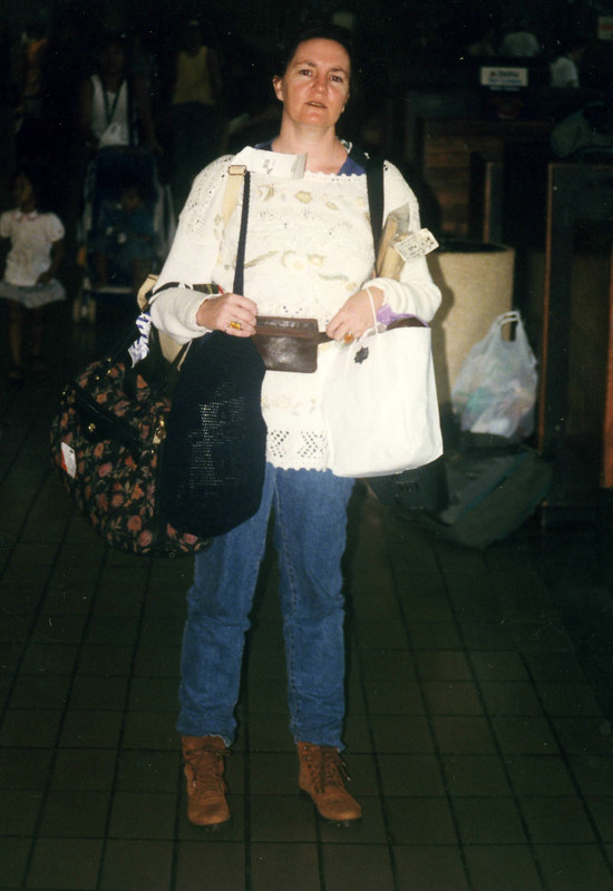 April 1999. Honolulu, Jane at the airport