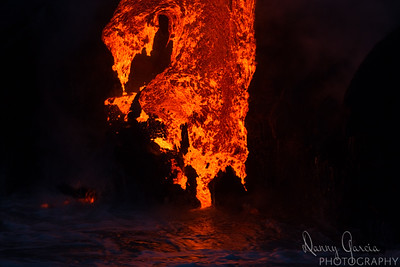 Lava Flow into the Ocean at Night