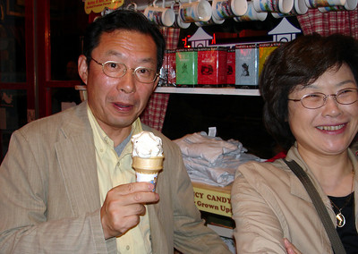 Papa and Mama enjoying their ice cream at the Popcorn Shop ... June 9, 2005