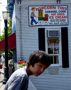 Masashi in front of the Popcorn Shop - Chagrin Falls, OH ... June 10, 2005 ... Photo by Rob Page III