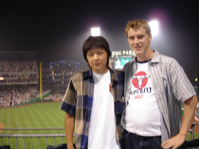 Masashi and Rob at PNC Park - Pittsburgh, PA ... June 11, 2005 ... Photo by usher
