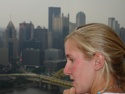 Heather peering out at the city - Pittsburgh, PA ... June 11, 2005 ... Photo by Rob Page III