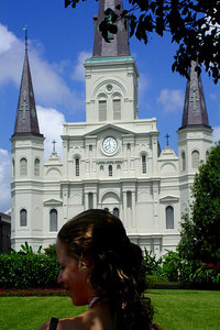 Emily and the St. Louis Cathdral - New Orleans, LA ... August 6, 2005 ... Photo by Rob Page III
