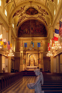 The inside of the St. Louis Cathedral.  This cathedral dates from 1852 and is named after King Louis the IX of France.  A church has occupied this site since the 1720's - New Orleans, LA ... August 6, 2005 ... Photo by Rob Page III