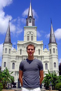 Rob in front of the St. Louis Cathedral on Jackson Square - New Orleans, LA ... August 6, 2005 ... Photo by Emily Conger