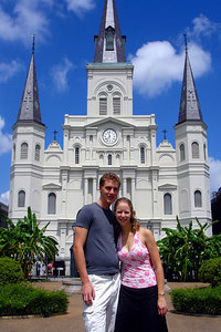 Rob and Emily in front of the St. Louis Cathedral in Jackson Square - New Orleans, LA ... August 6, 2005 ... Photo by Tourist