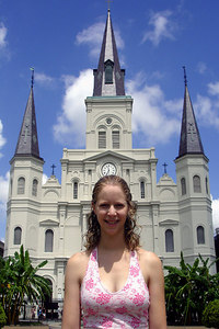 Emily and the St. Louis Cathedral - New Orleans, LA ... August 6, 2005 ... Photo by Rob Page III