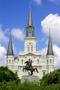 The St. Louis Cathedral.  This cathedral dates from 1852 and is named after King Louis the IX of France.  A church has occupied this site since the 1720's - New Orleans, LA ... August 6, 2005 ... Photo by Rob Page III