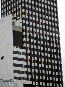 The boarded up windows of one of New Orleans' highrises - New Orleans, LA ... December 17, 2005 ... Photo by Rob Page III