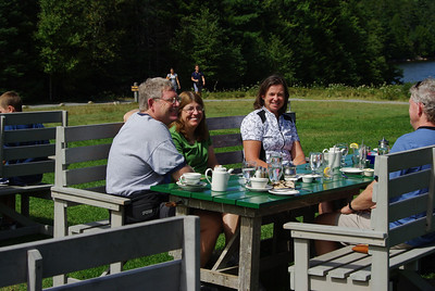 Tim, Bev, Barbara, and Rob enjoying popovers at Jordan Pond.