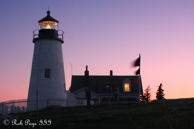 The Pemaquid Point Lighthouse. This lighthouse is located at the entrance to Muscongus Bay and John Bay. This point was originally established as a lighthouse in 1827 and the current lighthouse was constructed in 1835. It is 38 feet tall and sits 79 feet above the ocean - Pemaquid, ME ... September 4, 2009 ... Photo by Rob Page III
