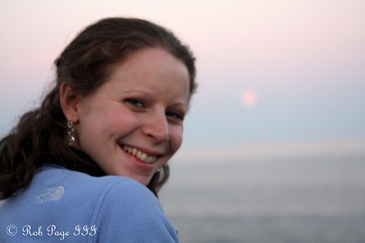 Emily enjoying the sunset and moonrise - Pemaquid, ME ... September 4, 2009 ... Photo by Rob Page III