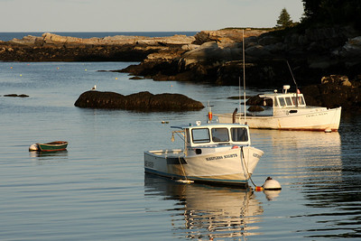 Boats in the harbor at sunset - New Harbor, ME ... August 31, 2008 ... Photo by Rob Page III