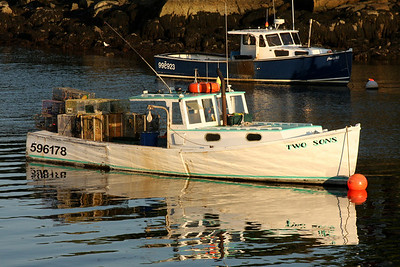 Lobster boats at sunset - New Harbor, ME ... August 31, 2008 ... Photo by Rob Page III