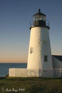 The Pemaquid Point Lighthouse. This lighthouse is located at the entrance to Muscongus Bay and John Bay. This point was originally established as a lighthouse in 1827 and the current lighthouse was constructed in 1835. It is 38 feet tall and sits 79 feet above the ocean - Pemaquid, ME ... September 6, 2009 ... Photo by Rob Page III