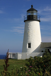 The Pemaquid Point Lighthouse. This lighthouse is located at the entrance to Muscongus Bay and John Bay. This point was originally established as a lighthouse in 1827 and the current lighthouse was constructed in 1835. It is 38 feet tall and sits 79 feet above the ocean - Pemaquid, ME ... August 29, 2008 ... Photo by Rob Page III