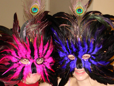 Emily and Liora showing off their masks - New Orleans, LA ... February 27, 2006 ... Photo by Rob Page III