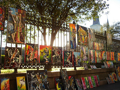 Paintings along Jackson Square - New Orleans, LA ... February 26, 2006 ... Photo by Rob Page III