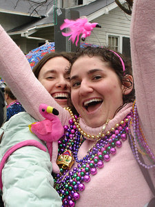 Stephanie and Liora at the Spanish Town Mardi Gras Parade - Baton Rouge, LA ... February 25, 2006 ... Photo by Rob Page III