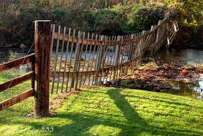 A fence along the river at the Utice covered bridge - Frederick, MD ... November 7, 2009 ... Photo by Rob Page III