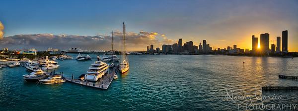 Miami Sunset from the Bridge Panoramic