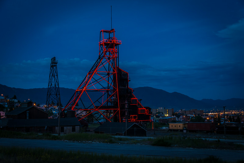 Headframe Lighted at Night