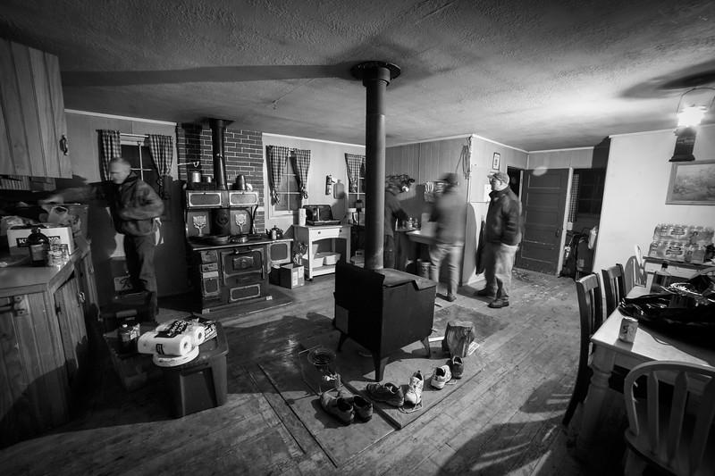 Central, Big Belts - Interior of Thompson Gulch cabin, night