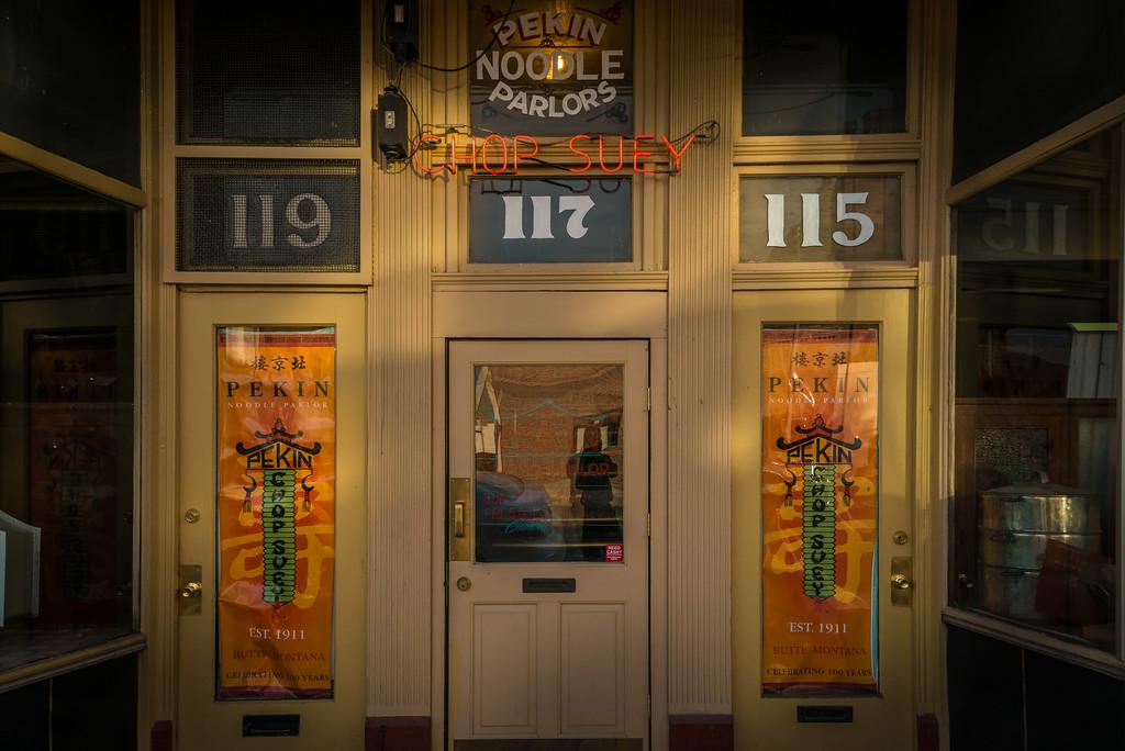 Pekin Noodle Parlor entrance. Circa 1911