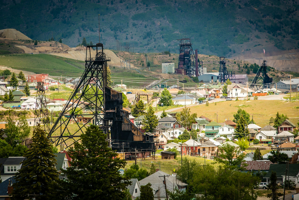 Four of 14 remaining headframes in Butte