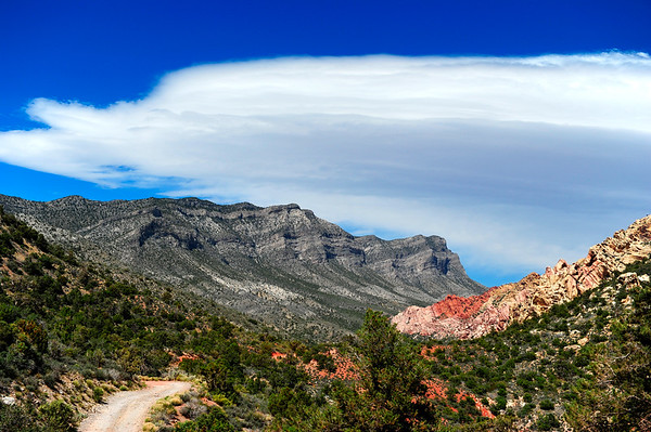 Grey and Red Rocks with clouds