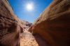 Valley of Fire, Pink Canyon - Sun above curve in slot canyon