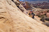 Valley of Fire, White Domes Loop - Woman taking picture with mobile phone