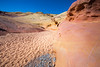 Valley of Fire, Pink Canyon - Pink and yellow rocks near slot canyon entrance