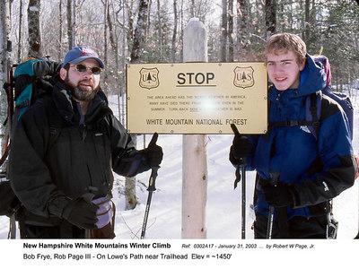 Ref:  0302A17 - January 31, 2003 by Robert W Page, Jr. New Hampshire White Mountains Winter Climb. Bob Frye, Rob Page III - On Lowe's Path near Trailhead  Elev = ~1450'