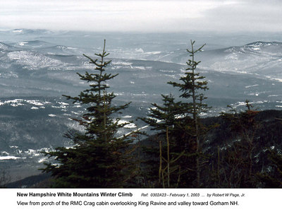 Ref:  0302A23 - February 1, 2003 by Robert W Page, Jr. New Hampshire White Mountains Winter Climb. View from porch of the RMC Crag cabin overlooking Kings Ravine and valley toward Gorham NH.