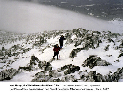 Ref: 0302X13  February 1, 2003 by Bob Frye  (Bob Frye negative) New Hampshire - White Mountains Winter Climb. Bob Page (closest to camera) and Rob Page III descending Mt Adams near summit. Elev = ~5600'