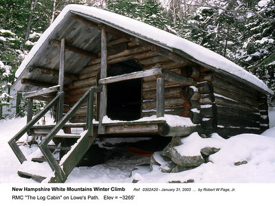 "Ref:  0302A20 - January 31, 2003 by Robert W Page, Jr. New Hampshire White Mountains Winter Climb. RMC ""The Log Cabin"" on Lowe's Path.   Elev = ~3265'"