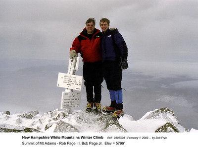 Ref: 0302X08  February 1, 2003 by Bob Frye  (Bob Frye negative) New Hampshire - White Mountains Winter Climb. Summit of Mt Adams - Rob Page III, Bob Page Jr.  Elev = ~5799'