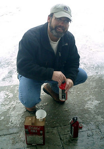 Bob Frye filling up our fuel bottles - Manchester, NH ... February 12, 2005 ... Photo by Rob Page III