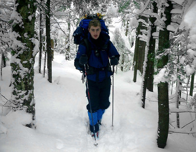 Rob Page hikiing on the trail - Randolph, NH ... February 11, 2005 ... Photo by Bob Frye
