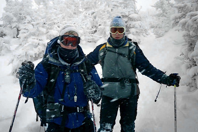 Rob and Pedro chilling (freezing)  on the trail - NH ... February 12, 2005 ... Photo by Daryl