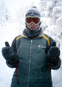 Pedro is having a thumbs up time freezing himself - NH ... February 12, 2005 ... Photo by Rob Page III