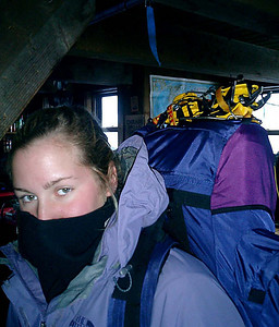 Heather is protected from the sun.  It was a little hot outside - NH ... February 13, 2005 ... Photo by Rob Page III
