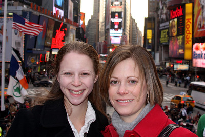 Emily and Jen in Times Square - New York, NY ... November 27, 2008 ... Photo by Rob Page III