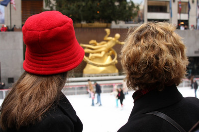 Emily and Mom looking out over the skaters in Rockefeller Center - New York, NY ... November 27, 2008 ... Photo by Rob Page III