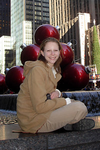 Emily hanging out in front of some giant Christmas ornaments in the city - New York, NY ... December 16, 2006 ... Photo by Rob Page III