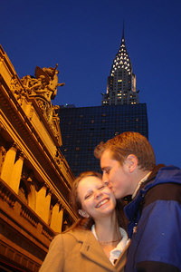Rob and Emily in front of Grand Central Station with the Chrysler Building in the background - New York, NY ... December 16, 2006 ... Photo by Rob Page III