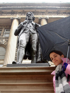 Christine with Thomas Jefferson - New York, NY ... January 3, 2006 ... Photo by Rob Page III