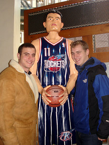 Pedro and Rob with a life size Yao Ming of the Houston Rockets - New York, NY ... January 4, 2006 ... Photo by Christine Bell